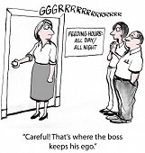 Cartoon of businesswoman about to open door and coworker says, Careful that's where the boss keeps his ego. poster