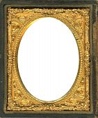 Ornate gold metal picture frame from the 1850s. This type of picture frame was used with the earliest style photos such as Daguerreotypes Ambrotypes and Tintypes. They were in popular use from the 1840's-1860s (Victorian Era). Image contains Clipping poster
