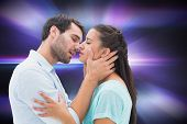 Attractive young couple about to kiss against digitally generated cool nightlife design poster