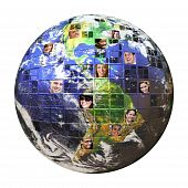 Montage of the earth with a global network of people from all walks of life on different continents isolated over white. poster