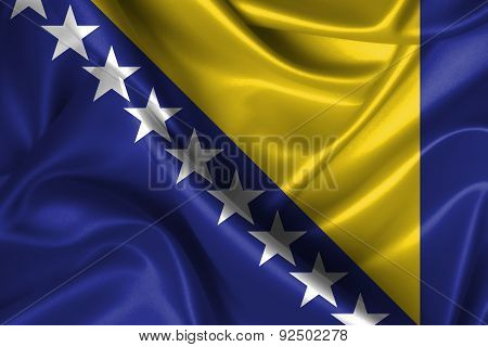 Wavy Flag Of Bosna And Herzegovina
