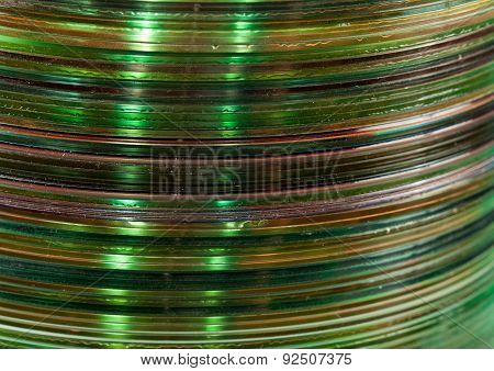 Green side texture of optical compact disks cylindrical pile