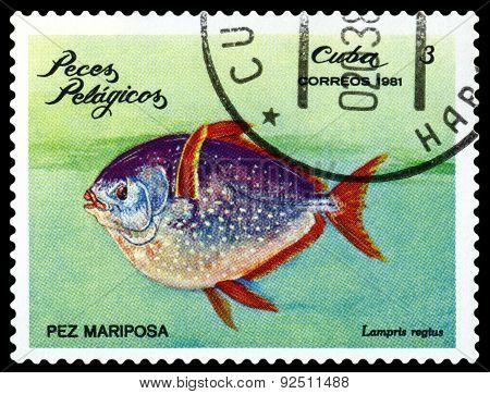 Vintage  Postage Stamp. Lampris Regius.