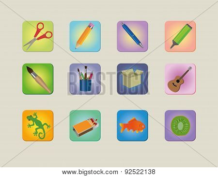 A set of different colourfull  icons