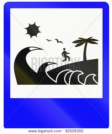 Indonesian road sign - Tsunami evacuation route poster
