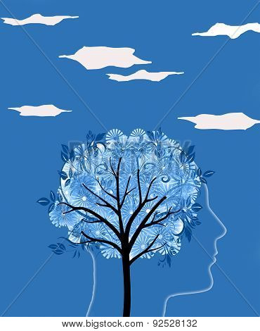 Head Silhouette And Tree Digital Illustration
