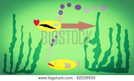 Naive Paiting.hot Underwater Life.
