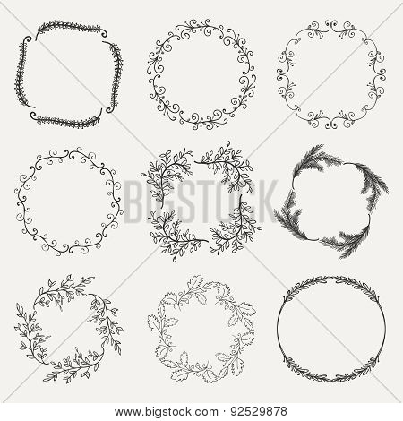 Vector Black Hand Sketched Floral Frames, Borders