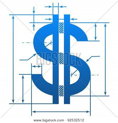 Dollar Symbol With Dimension Lines