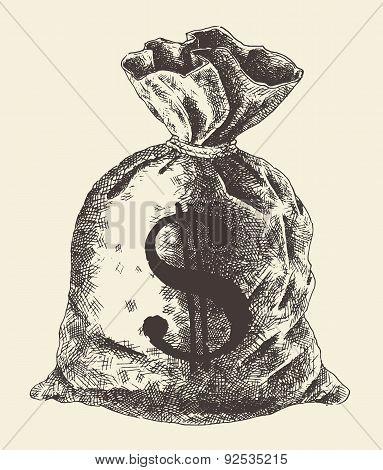 Money Bag Vintage Engraved Illustration Vector