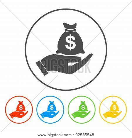 Money Insurance Sign. Hand Holds Cash Bag In Dollars Symbol. Modern Ui Website Navigation. Vector