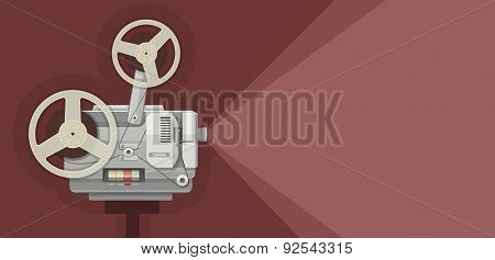 Retro movie projector for films showing. Eps10 vector illustration