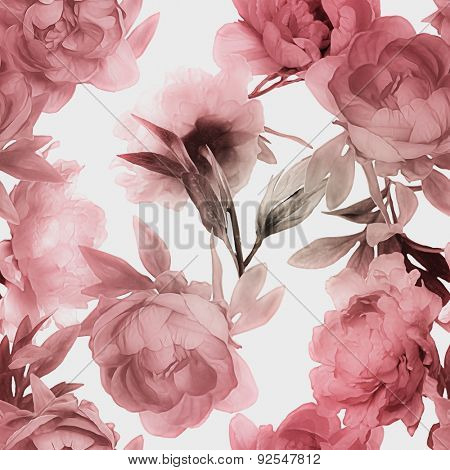 art vintage monochrome watercolor blurred and graphic floral seamless pattern with red peonies isolated on white background