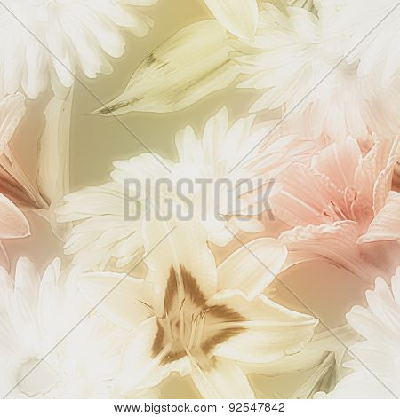 art monochrome golden blurred vintage floral seamless pattern with white and red gerberas and lilies on light green background
