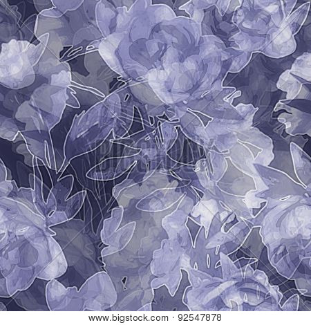 art vintage monochrome watercolor blurred and graphic floral seamless pattern with white peonies on blue background. Double Exposure effect