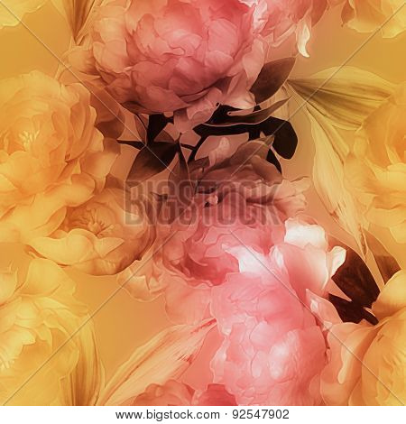 art vintage graphic and blurred watercolor floral seamless pattern with gold and pink red peonies on golden  background