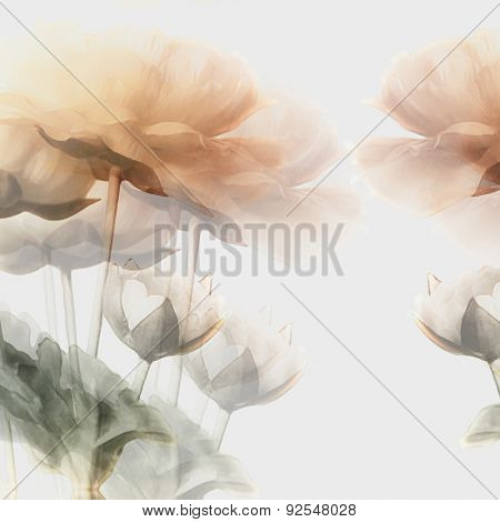 art vintage watercolor blurred floral pattern with golden peonies isolated on white background. Double Exposure effect