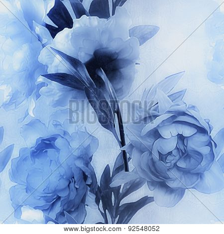 art vintage monochrome watercolor blurred floral seamless pattern with blue peonies on light blue background