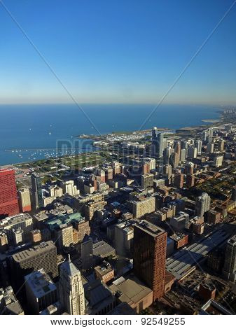 View on Chicago from the Willis Tower in autumn