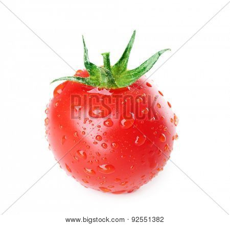 Single fresh cherry tomato with droplets isolated on white