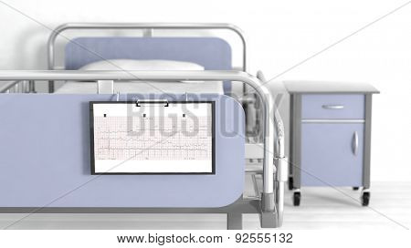 Hospital bed and bedside table with focus on patient sheet cardiogram
