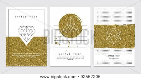 Set of cards for invitation, business card, poster or banner designs. With golden detail.