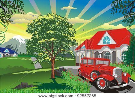 Landscape - A Retro Car Outdoors [