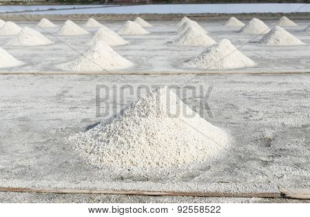 Row Of Salt In Salt Pan