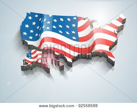 United States of America 3D map covered by national flag for 4th of July, Independence Day celebrations