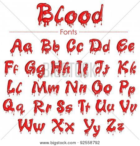 illustration of set of English font in blood texture