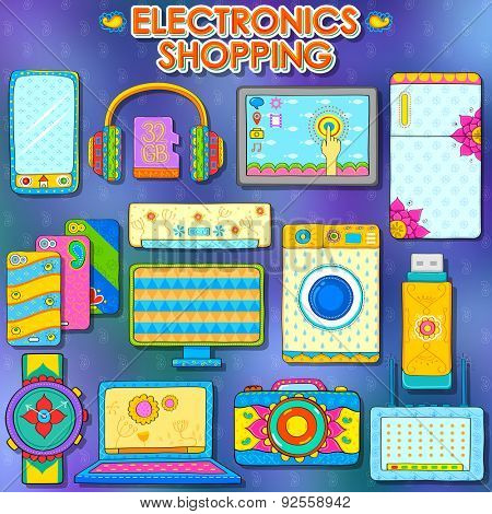 illustration of electronics gadget shopping in Indian kitsch style poster