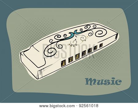 Floral decorated harmonica on vintage background for Music concept.