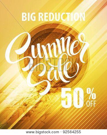 Summer Sale Poster. Vector illustration