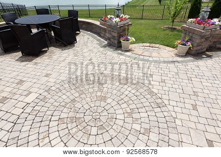 Ornamental Brick Paved Outdoor Patio