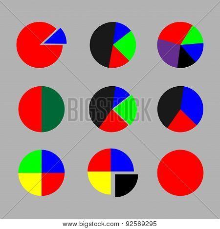 Set Of Pie Chart Color Flat