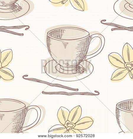 Outline coffee cup with vanilla vector seamless pattern