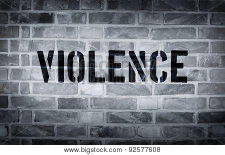 Violence Stencil Print On The Grunge White Brick Wall