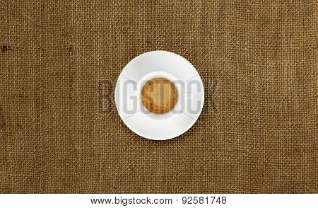 Cup Of Coffee On Jute Fabric