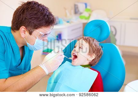 Small Kid, Patient Visiting Specialist In Dental Clinic