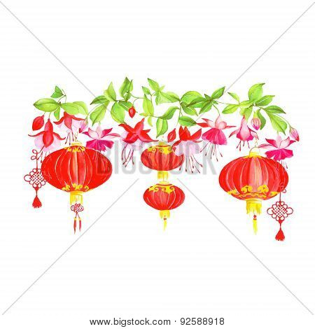 Asian Lanterns And Fuchsia Vector Design Banner