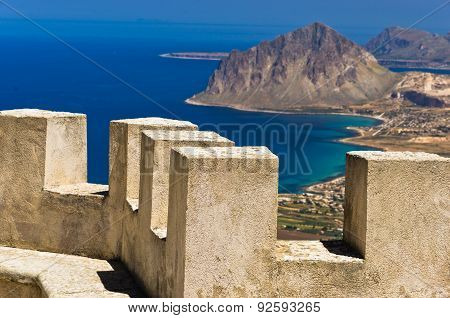 Viewpoint from Venus castle to Monte Cofano, at Erice, Sicily, Italy poster