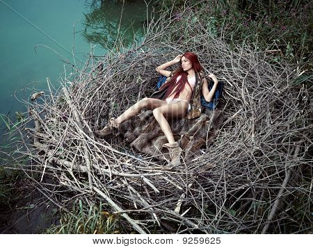 girl in a bird's nest
