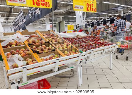 Fresh Fruits Ready For Sale In Auchan Samara Store