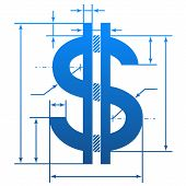 Element of blueprint drawing in shape of money sign. Qualitative vector illustration for banking financial industry economy accounting etc. It has only gradients poster