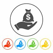 Money insurance sign. Hand holds cash bag in Dollars symbol. Modern UI website navigation. poster