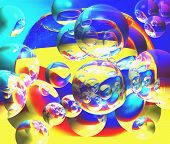 a phantasmagoric expression of aquarium and bubbles in spase poster