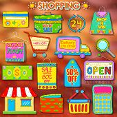 illustration of shopping concept in Indian kitsch style poster
