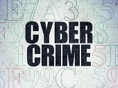 Security concept: Painted black text Cyber Crime on Digital Paper background with Hexadecimal Code, 3d render poster