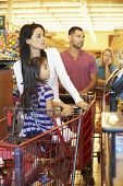 Customer In Queue To Pay For Shopping At Supermarket Checkout poster