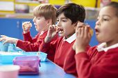 Schoolchildren Sitting At Table Eating Packed Lunch poster